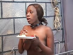 Lovely black girl is tortured in bdsm basement with vibrator dildo Thumb