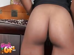 Big-ass ebony is kneeling down and sucking his horny pole Thumb