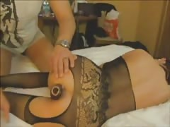 Stunning masked girl is getting fucked in her small asshole Thumb