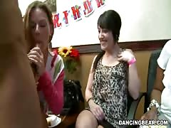Milf with sexy shape jerking and sucking stripper's dick Thumb