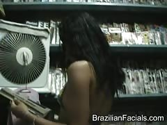 Covering an innocent Brazilian face with a huge facial Thumb