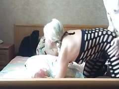 Bleached girl is getting penetrated in the doggy style pose Thumb