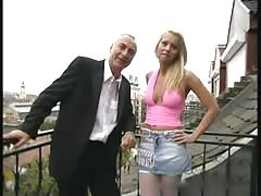 Old man and a blonde babe from Budapest Thumb
