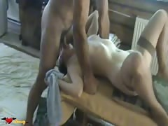 Slim young girl in the hot stockings is enjoying doggy style pose Thumb