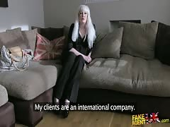 Awesome BBW blonde is showing off her puss for Fake Agent UK Thumb