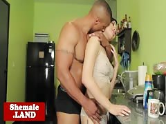 Trans Luna Rose assfucked on kitchen counter Thumb