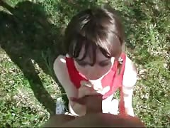 Dark-haired Russian cutie is swallowing a load in the POV video Thumb