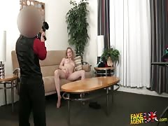Blonde sucking dick and playing with pussy in the video by Fake Agent UK Thumb