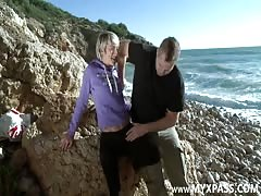 Deep throat, slapping and anal pounding on the beach Thumb