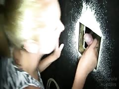 Gorgeous milf is giving a juicy blowjob in the gloryhole Thumb