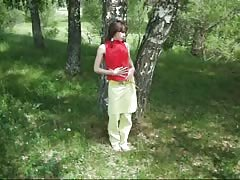 Crazy-minded Russian chick is sucking my dick right in the woods Thumb