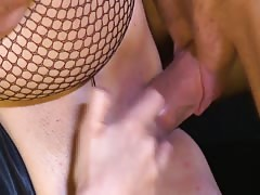 Cock-riding action with a bartender and Babe Station X blonde Thumb