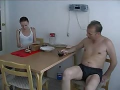 Daddy fucks a slender young Russian right in the kitchen Thumb