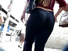 latina in spandex showing that thong off Thumb