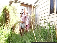 Girls Out West - Skinny blonde lesbians in the backyard Thumb