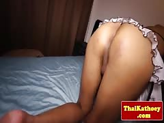 Ladyboy from thailand plays with dildo Thumb