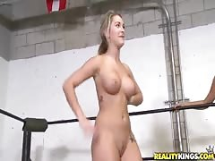 Slender naked sluts are swallowing his hard prick on the ring Thumb