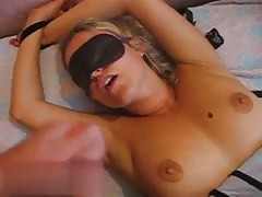 Blindfolded Russian blonde sucks a hard cock without using the hands Thumb