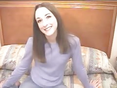 Lovely brunette gives a deepthroat blowjob in the castings video Thumb