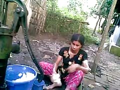 Desi Girl Bathing Outdoor Thumb