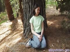 Innocent young babe Amy J gives a nice interview in the woods Thumb