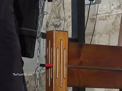 Extreme electro bdsm and wooden device bondage of slave Elis Thumb