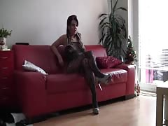 Sexy girl in fishnet and on high heels shows her ass on amateur camera Thumb