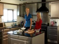 two blond girls in the kitchen Thumb