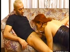 Hot redhead TS fucked on the floor Thumb