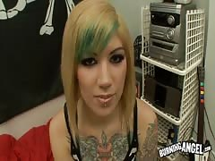 Tattooed punk blonde is getting fucked by couple of lesbians with strapons Thumb