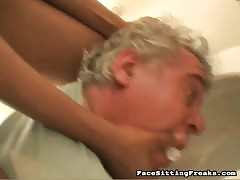 Filthy ebony with big ass pushes her slave's head in toilet Thumb