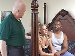 Hot blonde deep throats a hard cock with her old husband in the room Thumb