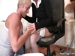 He drills blonde bitch in white stockings Thumb