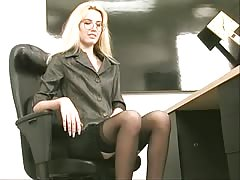 Sexy skinny blonde strips and plays with a dildo at the office Thumb