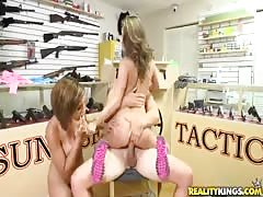 Gorgeous threesome in the gun shop by Money Talks videos Thumb