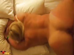 Sweet curvy blonde is enjoying doggy style pose so freaking much! Thumb