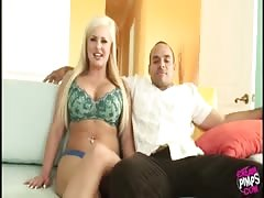 Big-tit blonde is getting fucked by a black guy in front her lovely cuckold Thumb