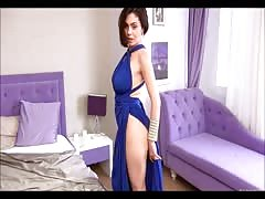 One sweet brunette in a kinky gala dress Thumb