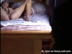 Relaxing on sofa and stroking her accurate bald vagina Thumb