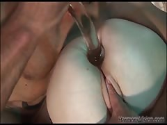 Impressive blonde maid is jumping on his hard dick after some anal games Thumb