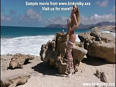 KinkyNiky anal toy fuck and prolapse at public beach!!! Thumb