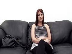 Chubby Mommy is spreading her long legs in Backroom Casting Couch video Thumb