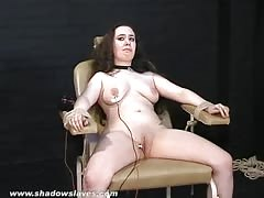 Merciless electro torture of chubby Nimue Allen in crying bondage Thumb