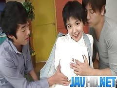 Insolent Japanese beauty gets ready to fuck with two guys Thumb