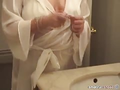 Glamorous blonde fucks her tight snatch with a hard dildo Thumb