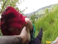 Outdoor sex on the grass with an awesome redhead slut Thumb