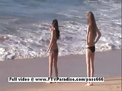 Faye and Larysa funny lesbians flashing on the beach Thumb