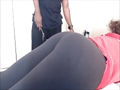 Spanking her ass with a vibrator Thumb