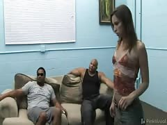 Awesome skinny gangbang babe is getting some giant hard dicks Thumb