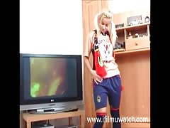 Norwegian teen masturbating in front of the television. Thumb
